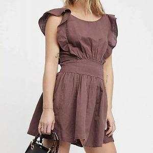 Free people collette brown linen mini dress ruffle